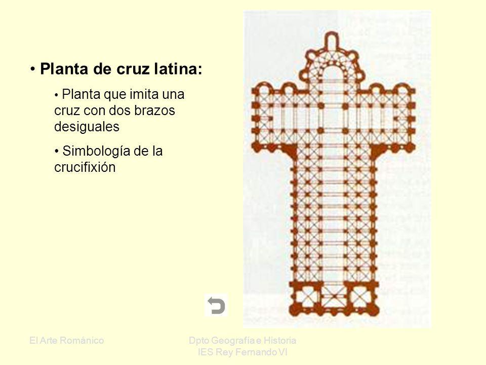 El Arte RománicoDpto Geografía e Historia IES Rey Fernando VI Iglesias de planta basilical Inspirada en las basílicas romanas Una o varias naves con l