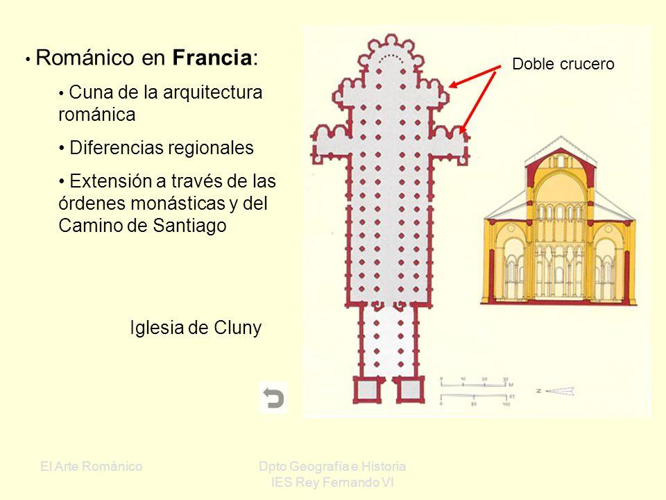 El Arte RománicoDpto Geografía e Historia IES Rey Fernando VI Románico en Europa Francia Mº de Cluny San Trófimo Santa Magdalena Italia Conjunto de Pi