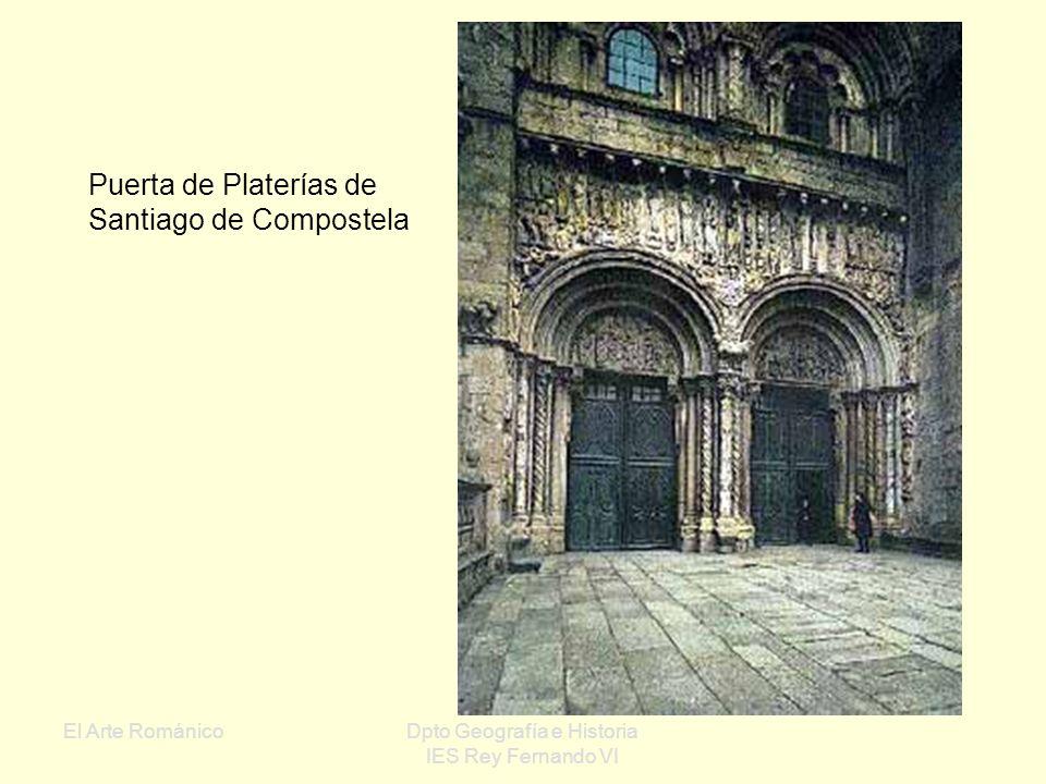 El Arte RománicoDpto Geografía e Historia IES Rey Fernando VI Pórtico de la Gloria de Santiago (siglo XII) Maestro Mateo Figuras: Cristo Evangelistas