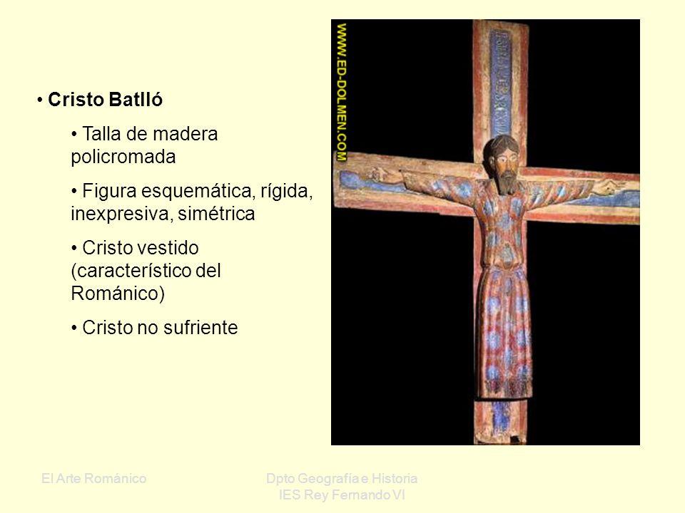 El Arte RománicoDpto Geografía e Historia IES Rey Fernando VI Tallas románicas: Hechas en madera policromada Frontalidad y esquematismo Temas repetido
