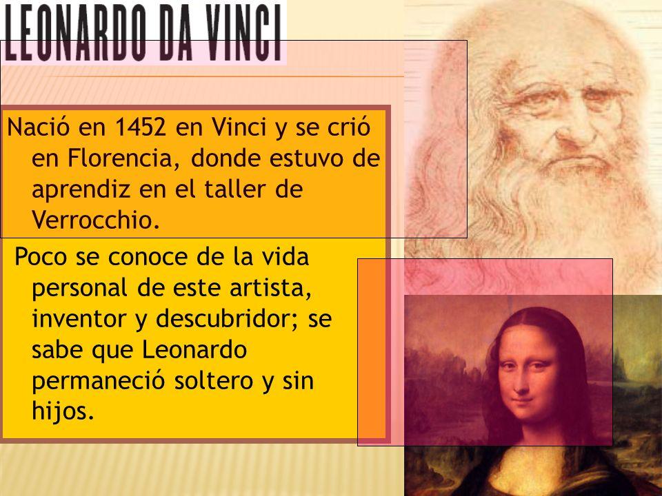 Nació en 1452 en Vinci y se crió en Florencia, donde estuvo de aprendiz en el taller de Verrocchio. Poco se conoce de la vida personal de este artista