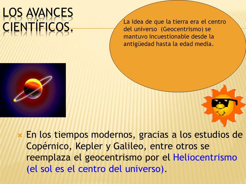 En los tiempos modernos, gracias a los estudios de Copérnico, Kepler y Galileo, entre otros se reemplaza el geocentrismo por el Heliocentrismo (el sol