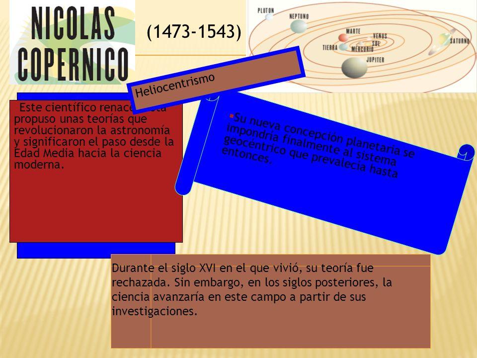 (1473-1543) Este científico renacentista propuso unas teorías que revolucionaron la astronomía y significaron el paso desde la Edad Media hacia la cie