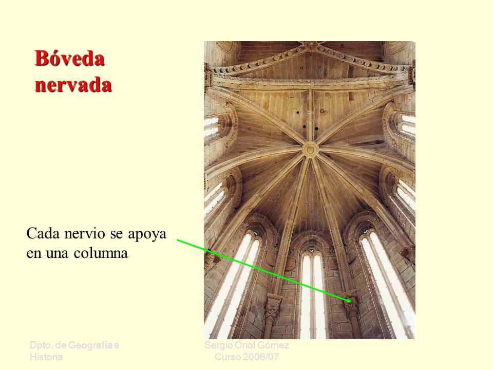 Dpto. de Geografía e Historia Sergio Oriol Gómez Curso 2006/07 Bóveda nervada Cada nervio se apoya en una columna