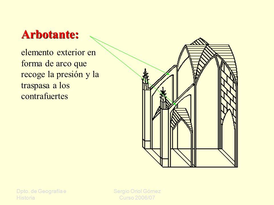Dpto. de Geografía e Historia Sergio Oriol Gómez Curso 2006/07 Arbotante: elemento exterior en forma de arco que recoge la presión y la traspasa a los