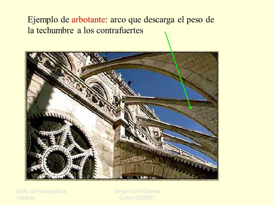 Dpto. de Geografía e Historia Sergio Oriol Gómez Curso 2006/07 Ejemplo de arbotante: arco que descarga el peso de la techumbre a los contrafuertes