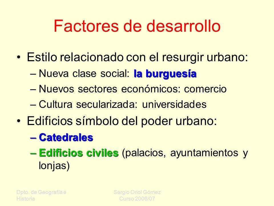 Dpto. de Geografía e Historia Sergio Oriol Gómez Curso 2006/07 Factores de desarrollo Estilo relacionado con el resurgir urbano: la burguesía –Nueva c