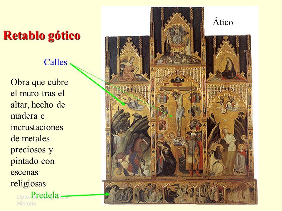 Dpto. de Geografía e Historia Sergio Oriol Gómez Curso 2006/07 Retablo gótico Calles Ático Predela Obra que cubre el muro tras el altar, hecho de made