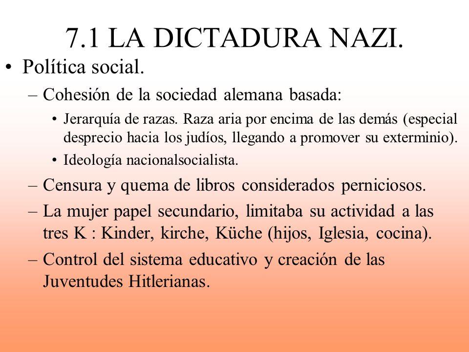 7.1 LA DICTADURA NAZI. Política social. –Cohesión de la sociedad alemana basada: Jerarquía de razas. Raza aria por encima de las demás (especial despr