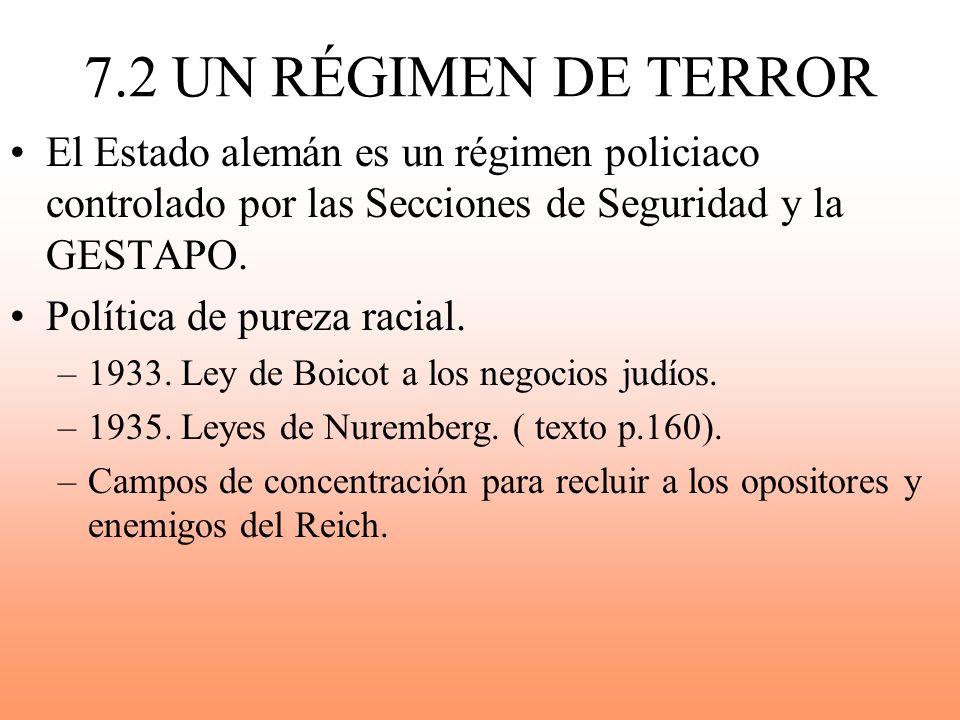 7.2 UN RÉGIMEN DE TERROR El Estado alemán es un régimen policiaco controlado por las Secciones de Seguridad y la GESTAPO. Política de pureza racial. –