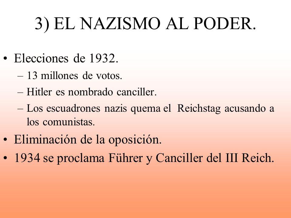 3) EL NAZISMO AL PODER. Elecciones de 1932. –13 millones de votos. –Hitler es nombrado canciller. –Los escuadrones nazis quema el Reichstag acusando a