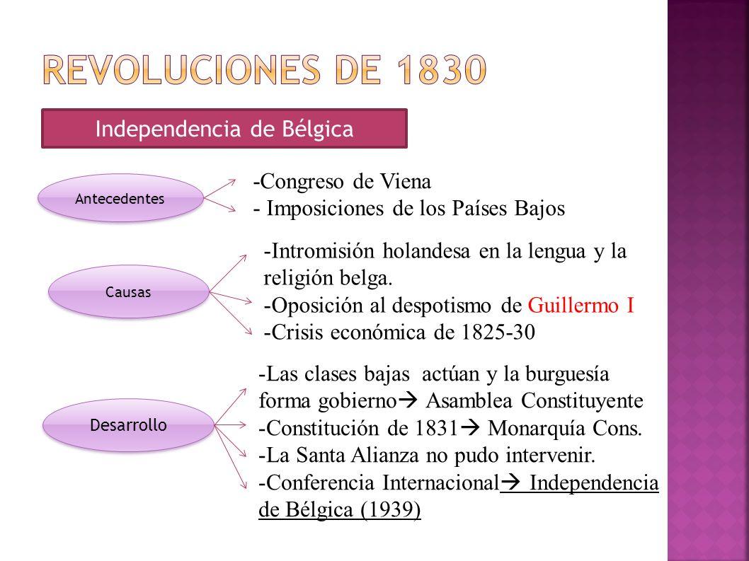 Independencia de Bélgica Antecedentes Causas Desarrollo -Congreso de Viena - Imposiciones de los Países Bajos -Intromisión holandesa en la lengua y la