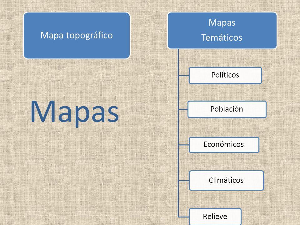 Mapa topográfico Mapas Temáticos Políticos Población Económicos Climáticos Relieve Mapas