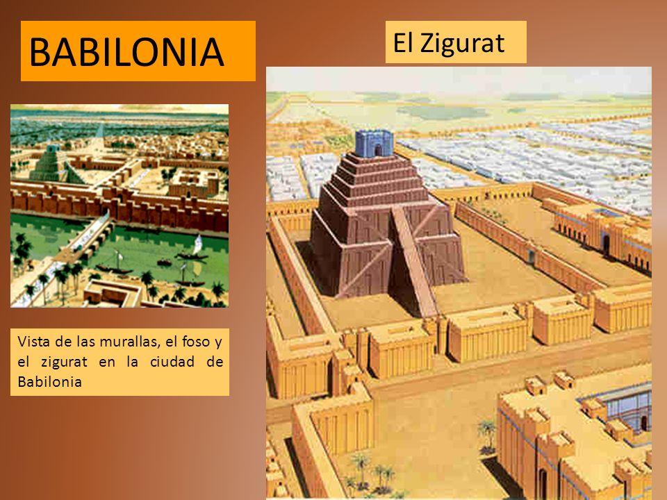 Vista de las murallas, el foso y el zigurat en la ciudad de Babilonia El Zigurat BABILONIA
