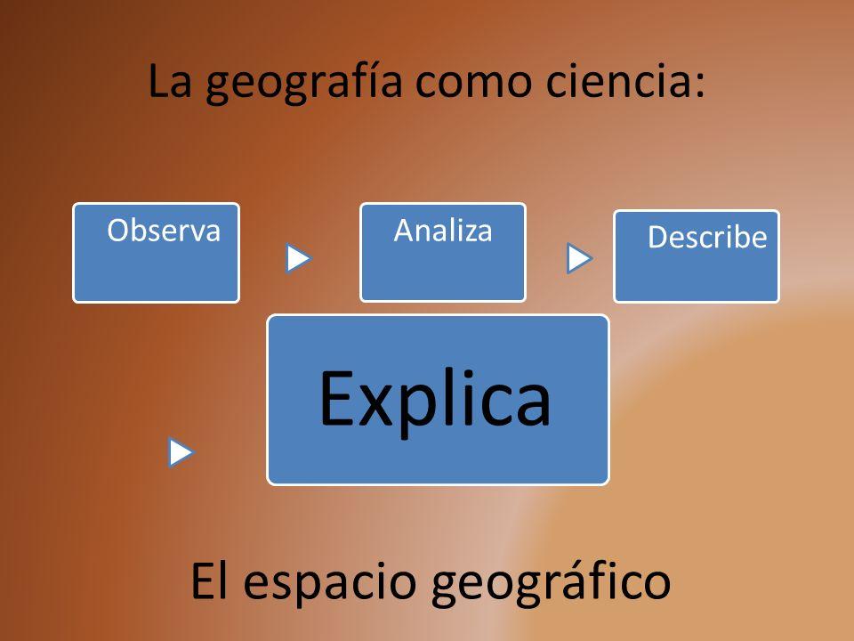 La geografía como ciencia: ObservaAnaliza Describe Explica El espacio geográfico