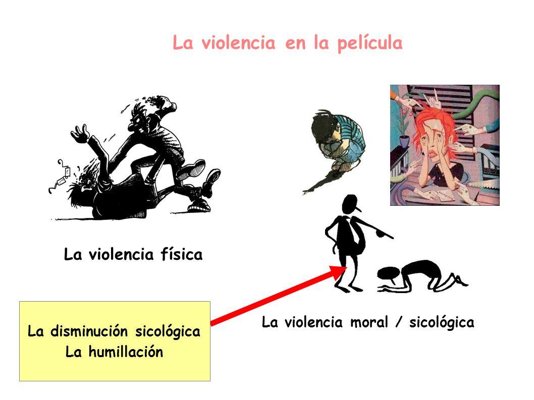 La violencia en la película La violencia física La violencia moral / sicológica La disminución sicológica La humillación
