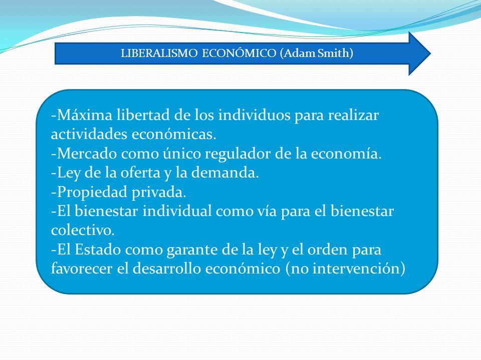 -Máxima libertad de los individuos para realizar actividades económicas.