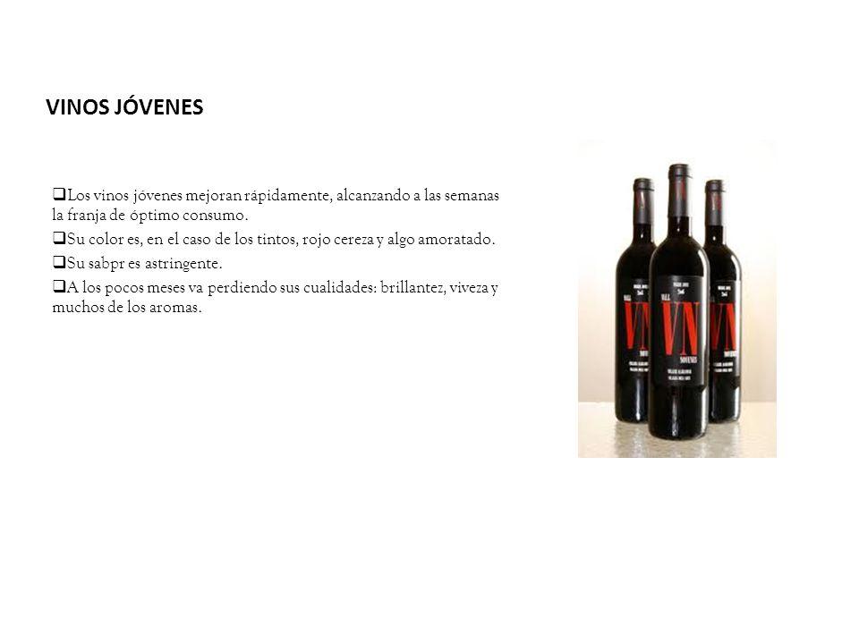 VINOS JÓVENES Los vinos jóvenes mejoran rápidamente, alcanzando a las semanas la franja de óptimo consumo. Su color es, en el caso de los tintos, rojo