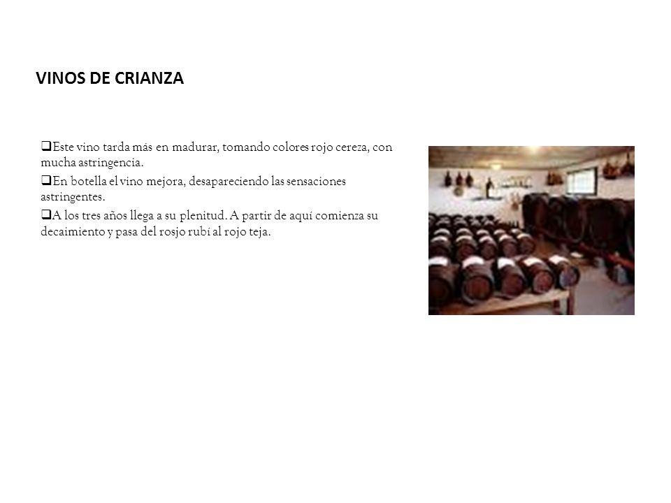 VINOS DE CRIANZA Este vino tarda más en madurar, tomando colores rojo cereza, con mucha astringencia. En botella el vino mejora, desapareciendo las se
