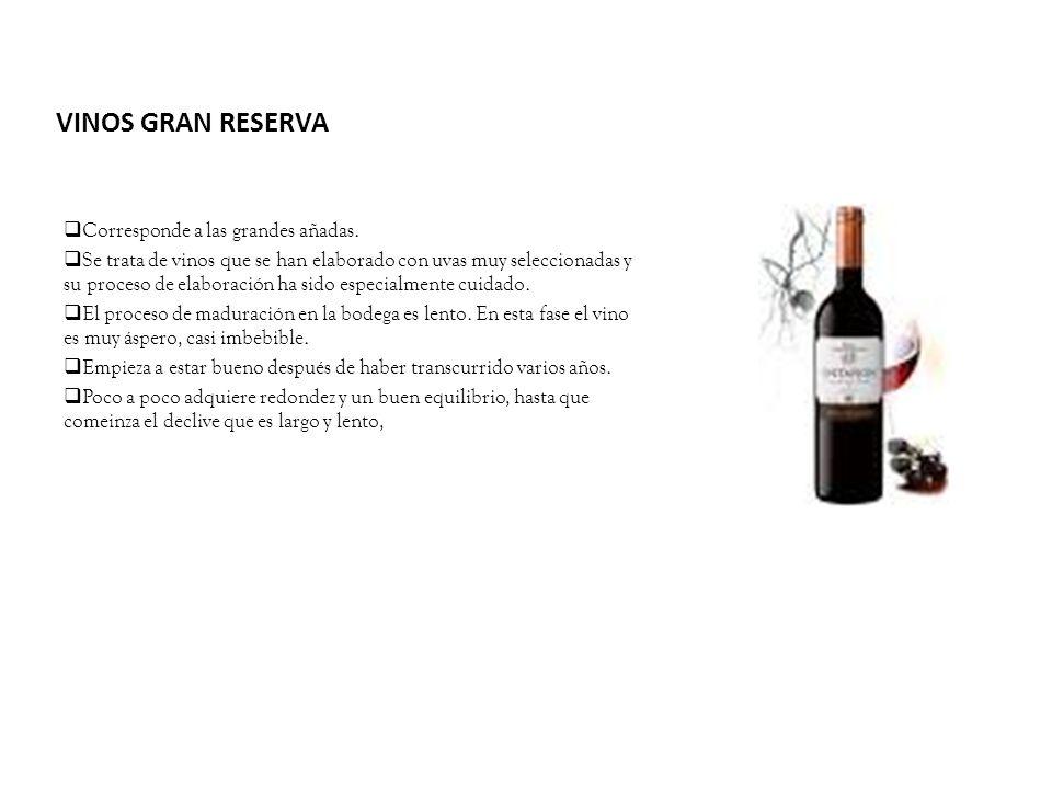 VINOS GRAN RESERVA Corresponde a las grandes añadas. Se trata de vinos que se han elaborado con uvas muy seleccionadas y su proceso de elaboración ha