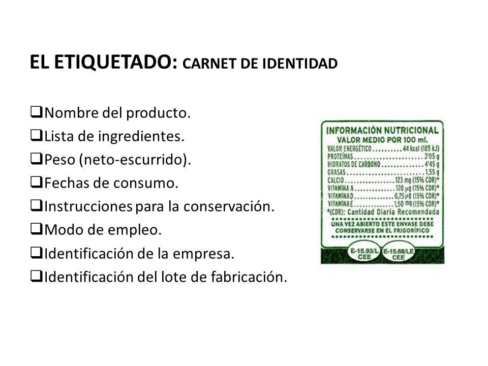 EL ETIQUETADO: CARNET DE IDENTIDAD Nombre del producto. Lista de ingredientes. Peso (neto-escurrido). Fechas de consumo. Instrucciones para la conserv
