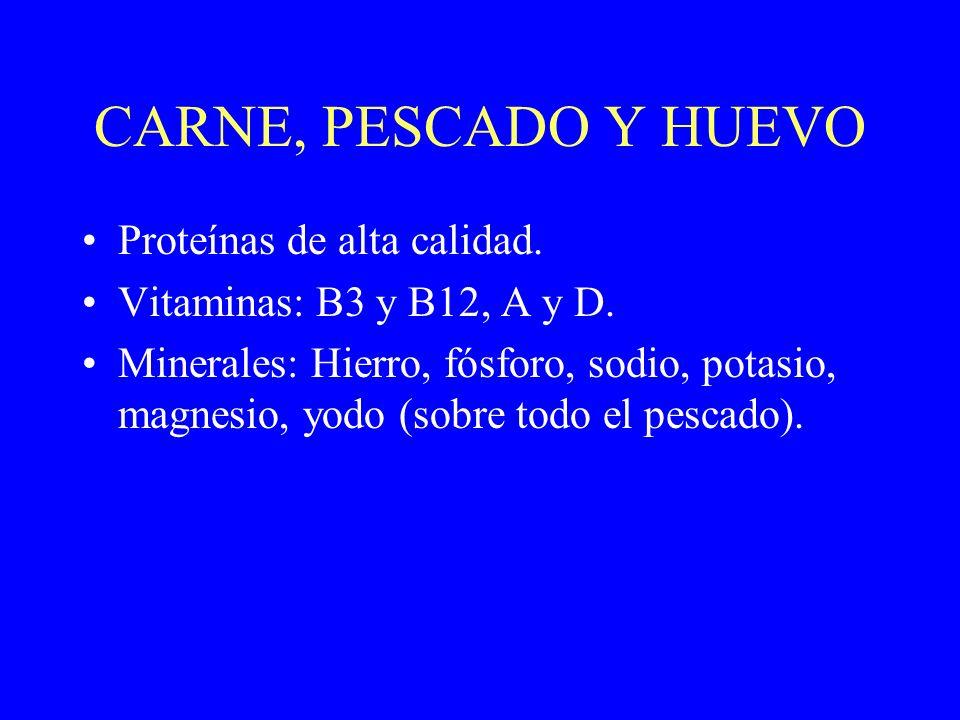 CARNE, PESCADO Y HUEVO Proteínas de alta calidad. Vitaminas: B3 y B12, A y D. Minerales: Hierro, fósforo, sodio, potasio, magnesio, yodo (sobre todo e
