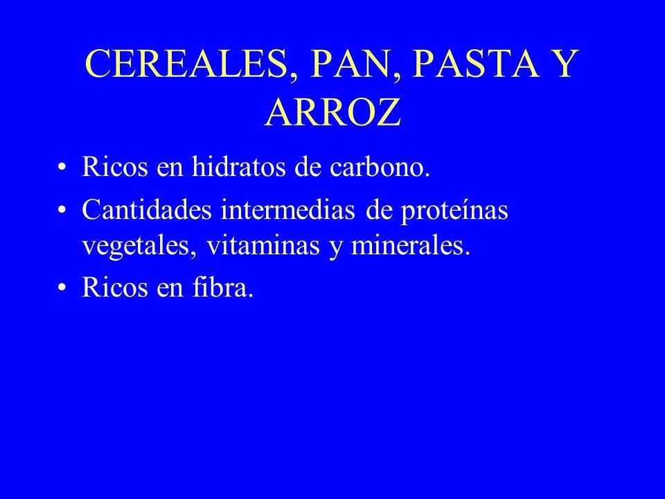 CEREALES, PAN, PASTA Y ARROZ Ricos en hidratos de carbono. Cantidades intermedias de proteínas vegetales, vitaminas y minerales. Ricos en fibra.