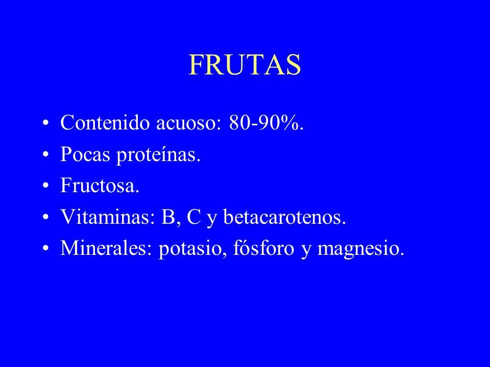 FRUTAS Contenido acuoso: 80-90%. Pocas proteínas. Fructosa. Vitaminas: B, C y betacarotenos. Minerales: potasio, fósforo y magnesio.