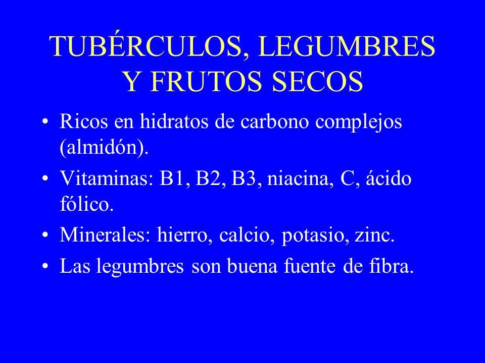 TUBÉRCULOS, LEGUMBRES Y FRUTOS SECOS Ricos en hidratos de carbono complejos (almidón). Vitaminas: B1, B2, B3, niacina, C, ácido fólico. Minerales: hie
