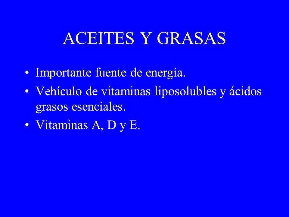 ACEITES Y GRASAS Importante fuente de energía. Vehículo de vitaminas liposolubles y ácidos grasos esenciales. Vitaminas A, D y E.