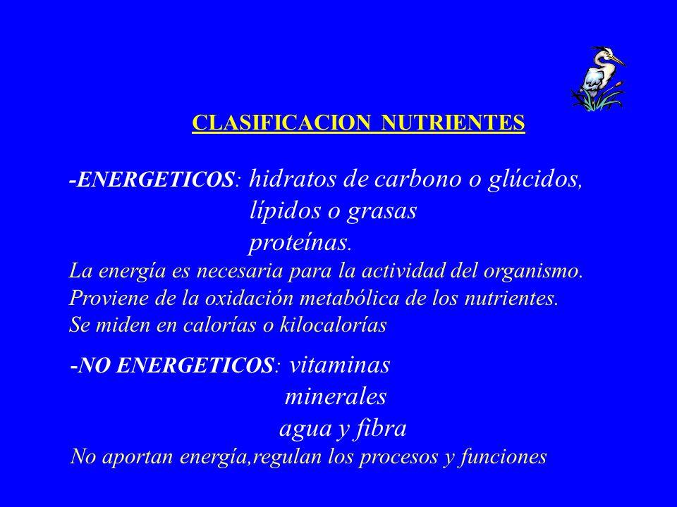 CLASIFICACION NUTRIENTES -ENERGETICOS: hidratos de carbono o glúcidos, lípidos o grasas proteínas. La energía es necesaria para la actividad del organ