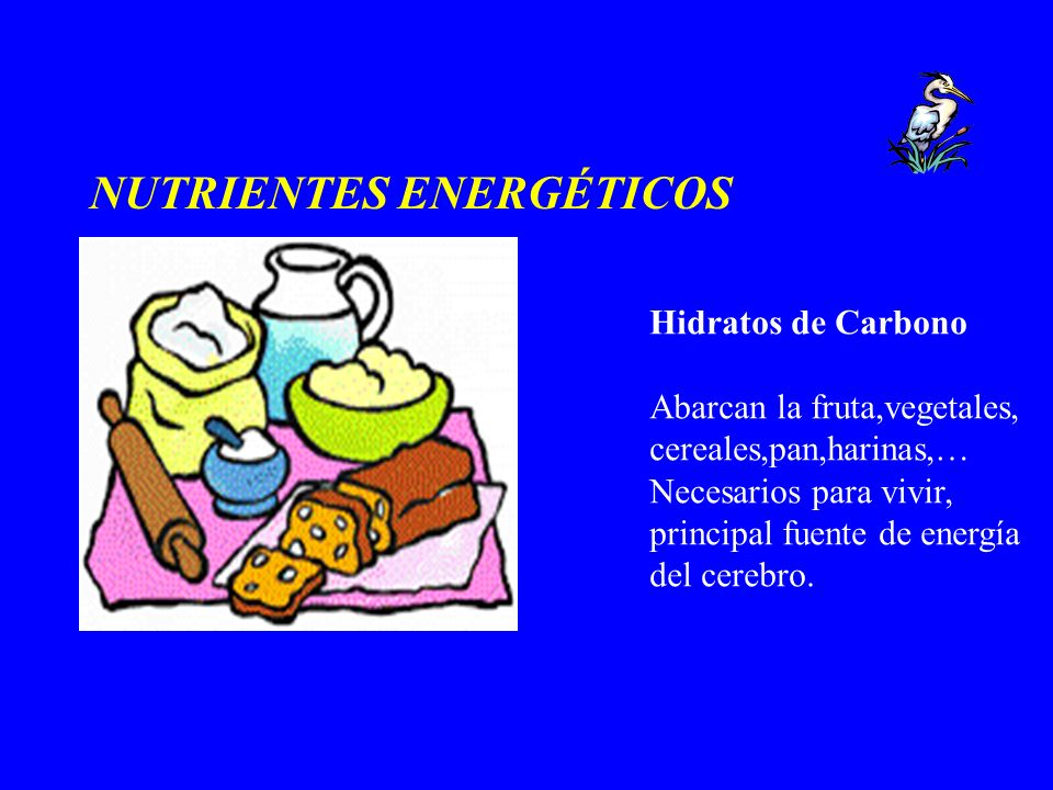 NUTRIENTES ENERGÉTICOS Hidratos de Carbono Abarcan la fruta,vegetales, cereales,pan,harinas,… Necesarios para vivir, principal fuente de energía del c