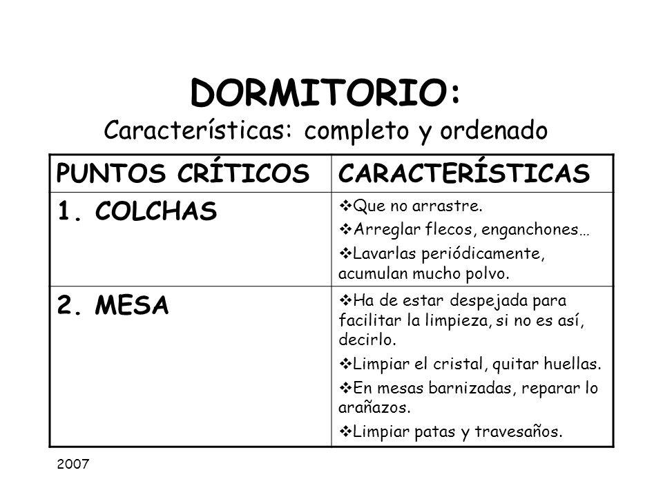 2007 DORMITORIO: Características: completo y ordenado PUNTOS CRÍTICOSCARACTERÍSTICAS 1.COLCHAS Que no arrastre. Arreglar flecos, enganchones… Lavarlas