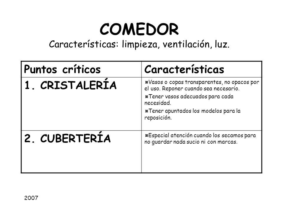 2007 COMEDOR Características: limpieza, ventilación, luz. Puntos críticosCaracterísticas 1. CRISTALERÍA Vasos o copas transparentes, no opacos por el