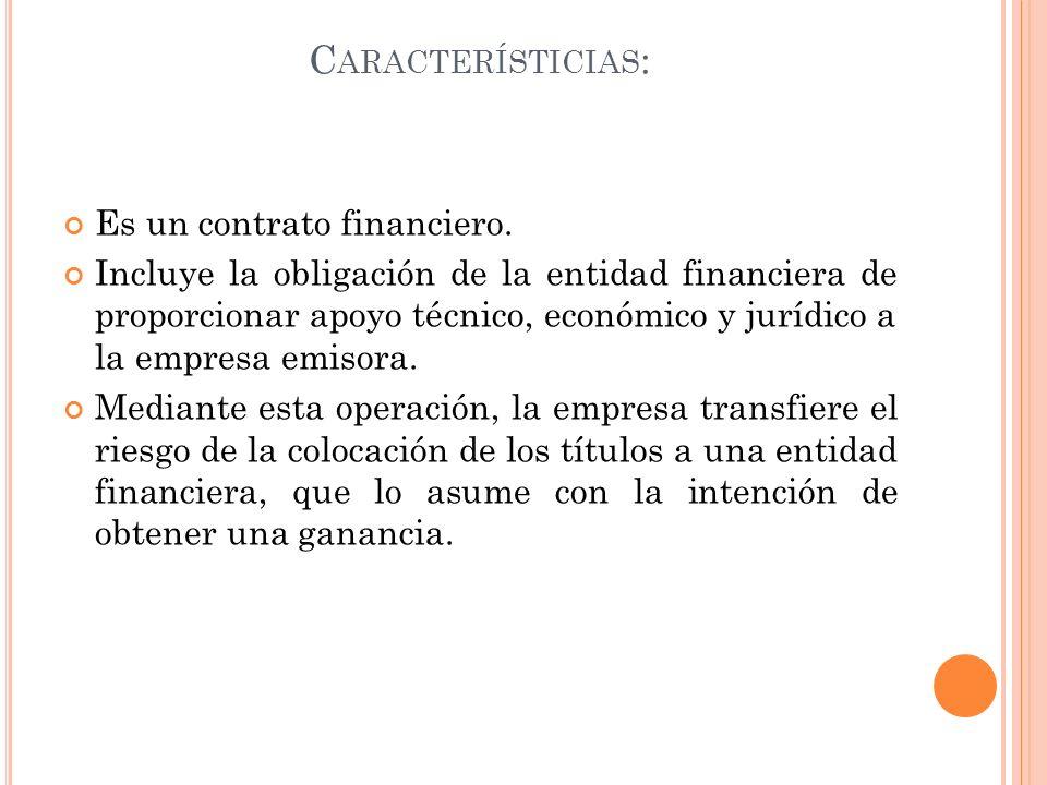 C ARACTERÍSTICIAS : Es un contrato financiero. Incluye la obligación de la entidad financiera de proporcionar apoyo técnico, económico y jurídico a la