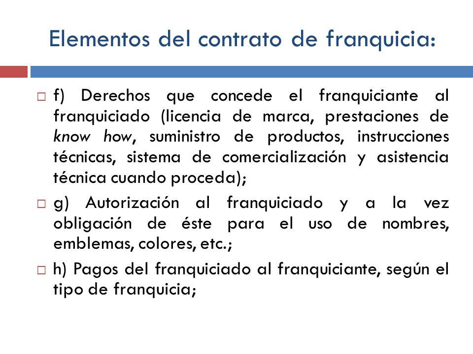 Elementos del contrato de franquicia: f) Derechos que concede el franquiciante al franquiciado (licencia de marca, prestaciones de know how, suministr