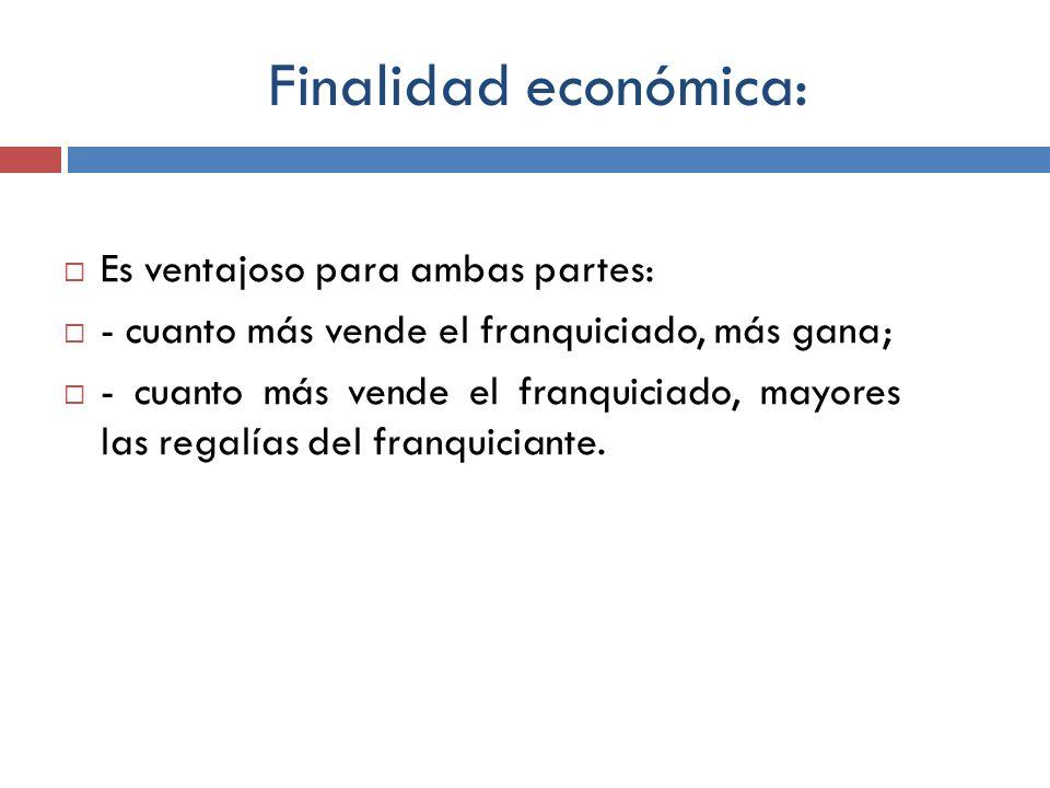 Finalidad económica: Es ventajoso para ambas partes: - cuanto más vende el franquiciado, más gana; - cuanto más vende el franquiciado, mayores las reg