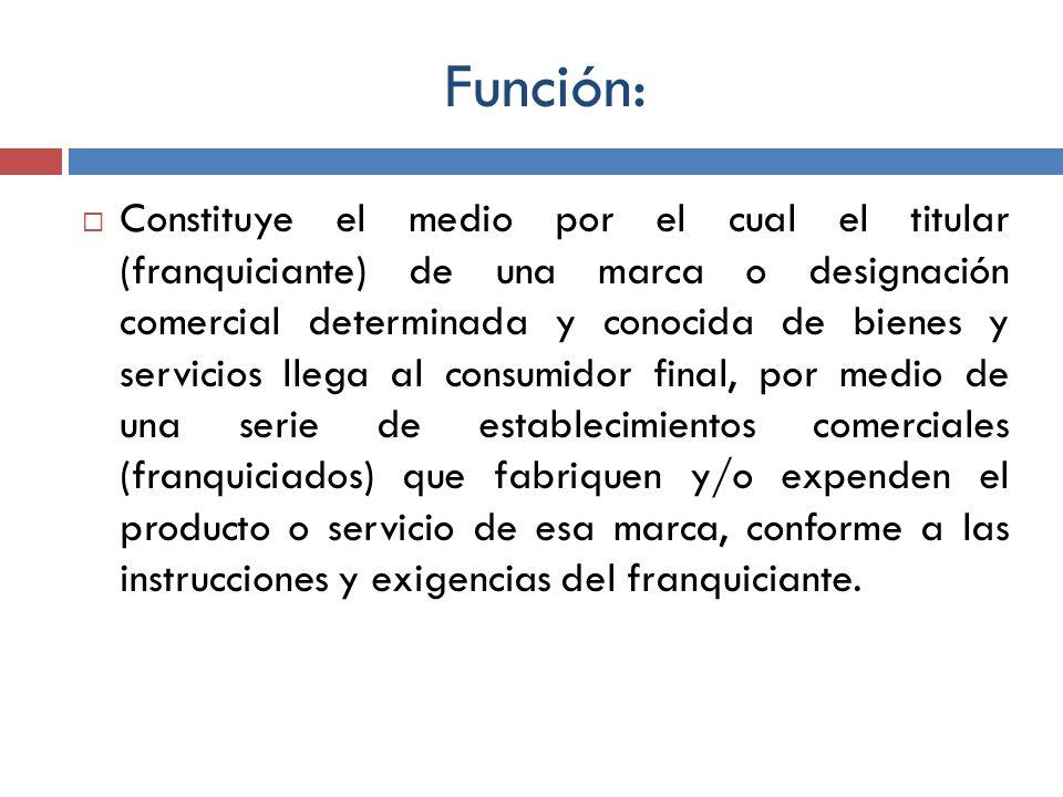 Función: Constituye el medio por el cual el titular (franquiciante) de una marca o designación comercial determinada y conocida de bienes y servicios