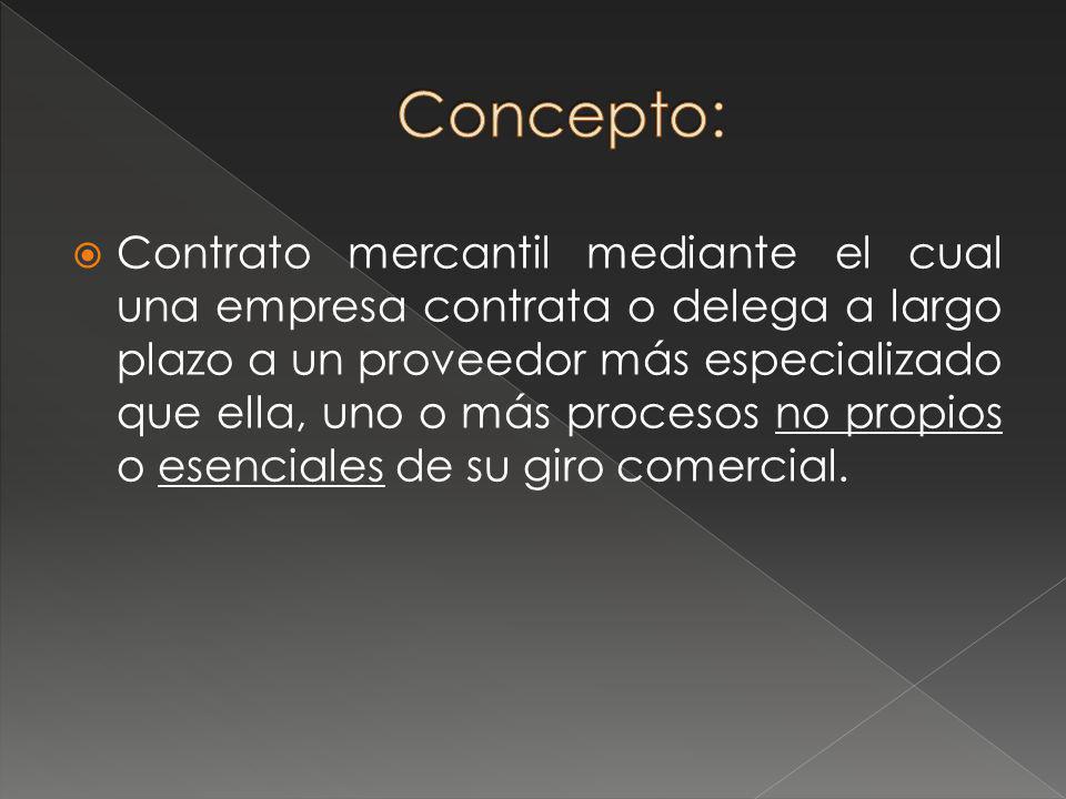 1.Empresa proveedora (outsourcer): La que presta el servicio o fabrica el componente 2.