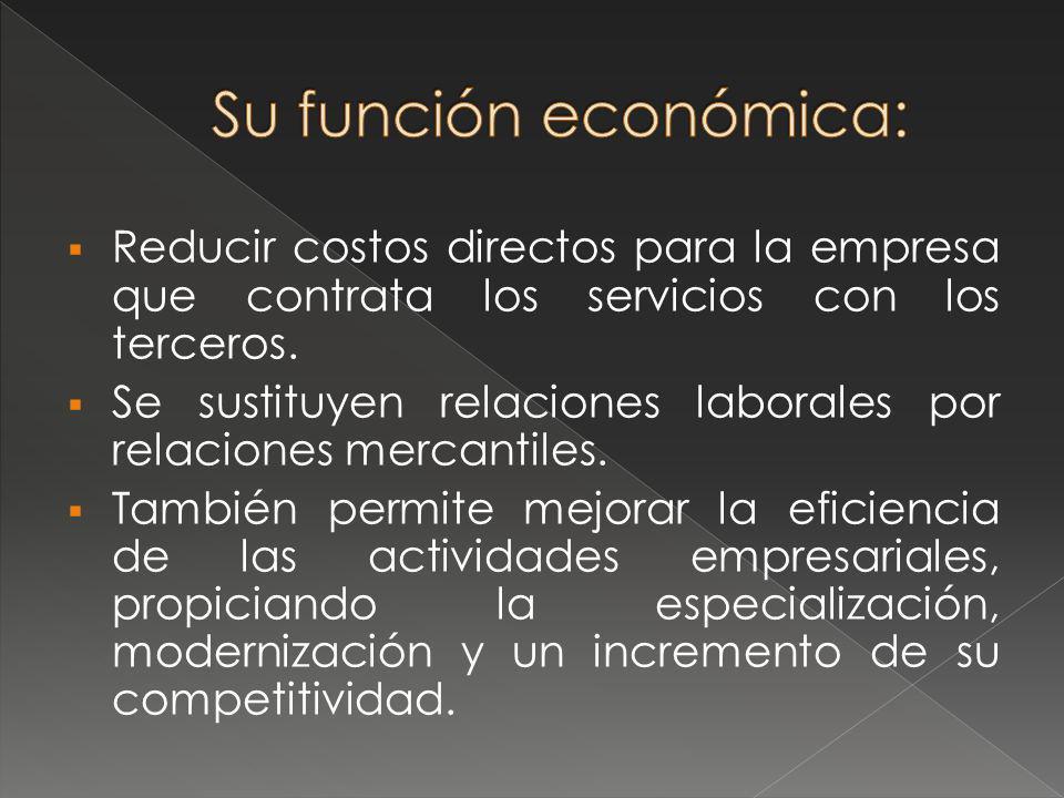 Significa la contratación de proveedores ajenos a las empresas, con experiencia en un campo específico, con el fin de que proporcionen a éstas ciertos productos y operaciones.