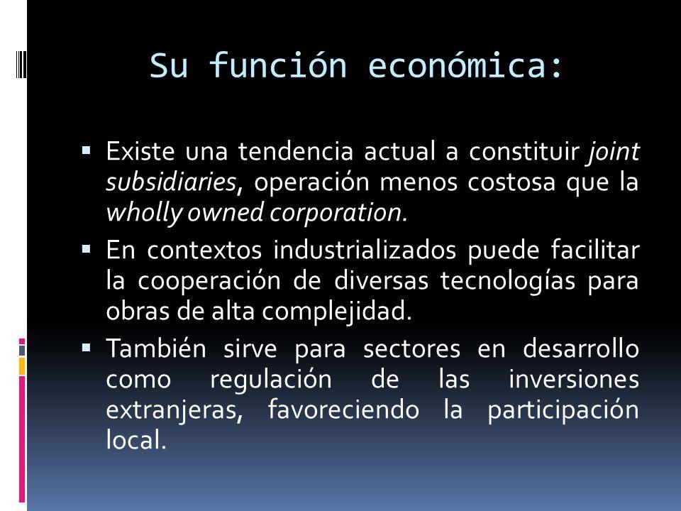 Su función económica: Existe una tendencia actual a constituir joint subsidiaries, operación menos costosa que la wholly owned corporation. En context