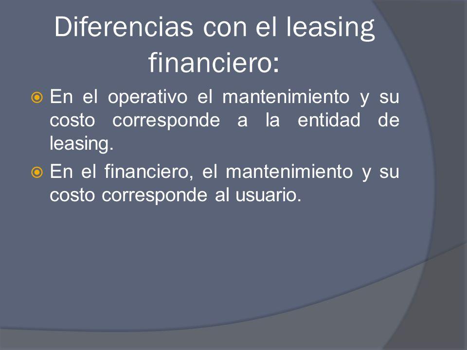 Diferencias con el leasing financiero: En el operativo el mantenimiento y su costo corresponde a la entidad de leasing.