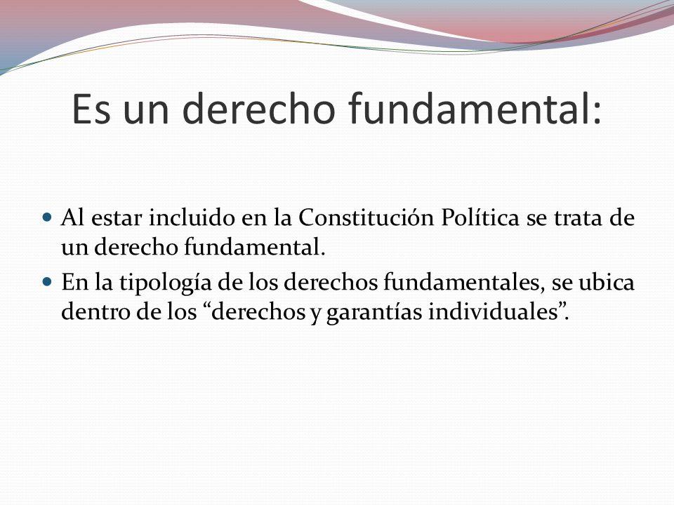 Es un derecho fundamental: Al estar incluido en la Constitución Política se trata de un derecho fundamental. En la tipología de los derechos fundament