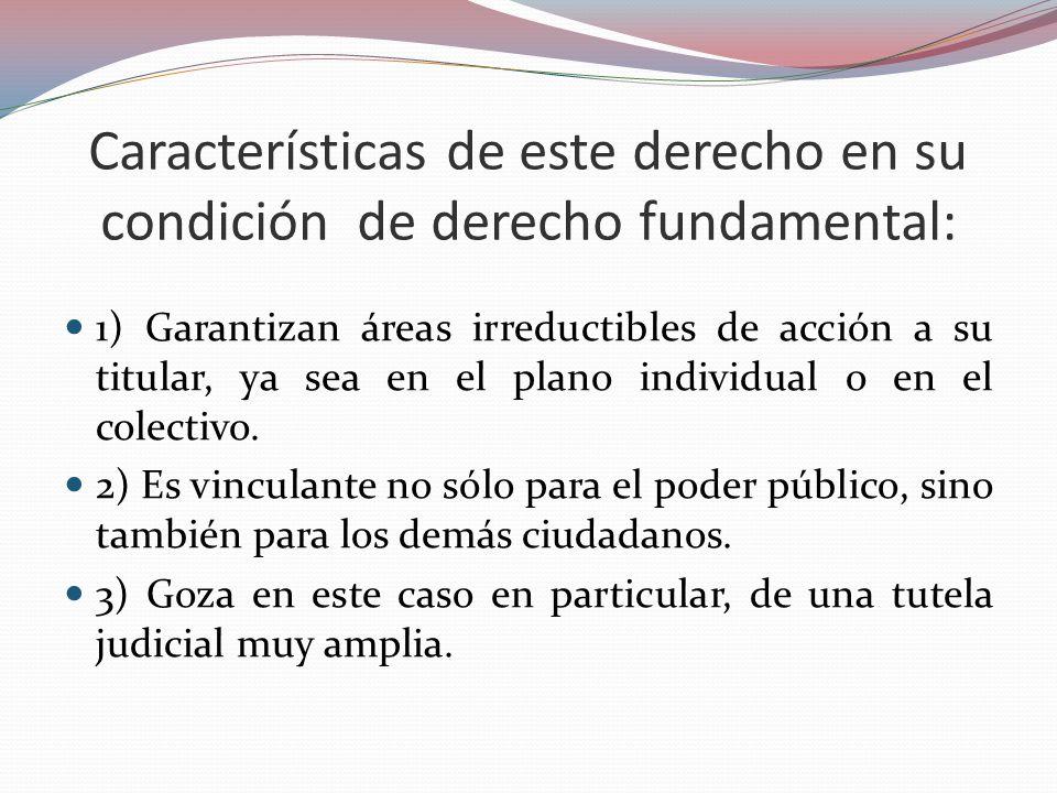 Características de este derecho en su condición de derecho fundamental: 1) Garantizan áreas irreductibles de acción a su titular, ya sea en el plano i