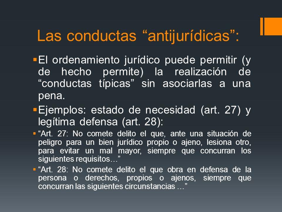 Las conductas antijurídicas: El ordenamiento jurídico puede permitir (y de hecho permite) la realización de conductas típicas sin asociarlas a una pen