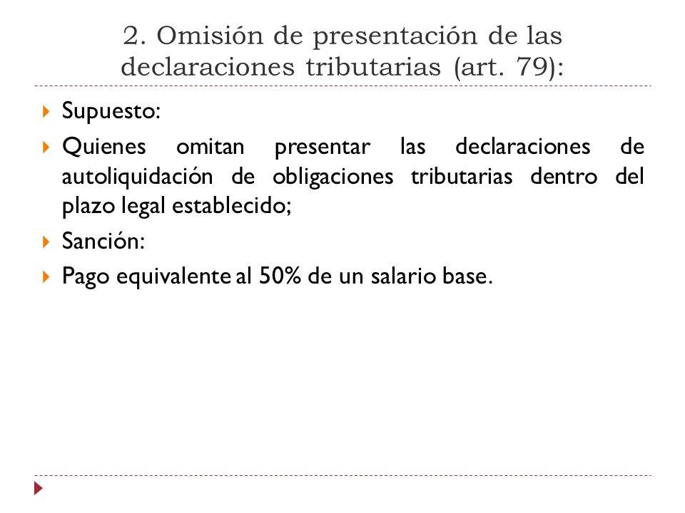 2. Omisión de presentación de las declaraciones tributarias (art. 79): Supuesto: Quienes omitan presentar las declaraciones de autoliquidación de obli
