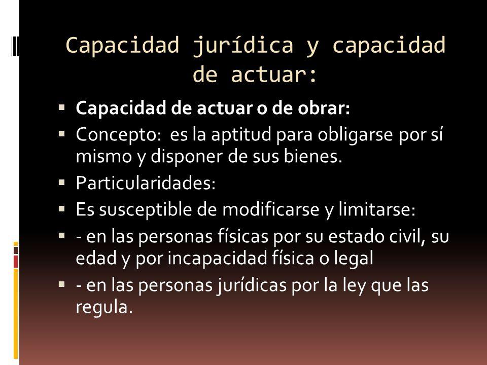 Capacidad jurídica y capacidad de actuar: Capacidad de actuar o de obrar: Concepto: es la aptitud para obligarse por sí mismo y disponer de sus bienes