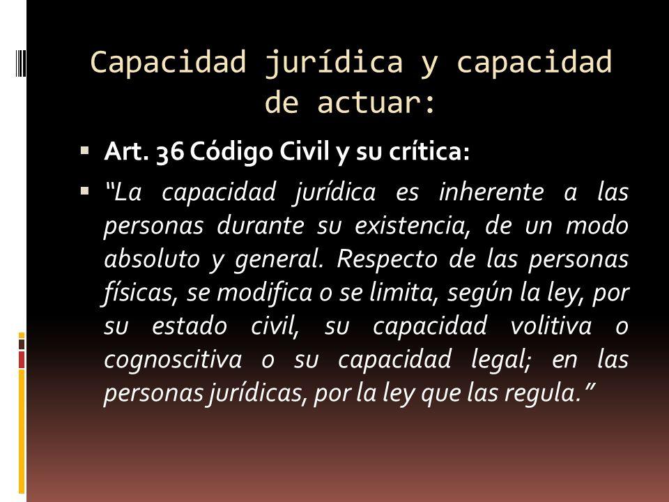 Capacidad jurídica y capacidad de actuar: Art. 36 Código Civil y su crítica: La capacidad jurídica es inherente a las personas durante su existencia,