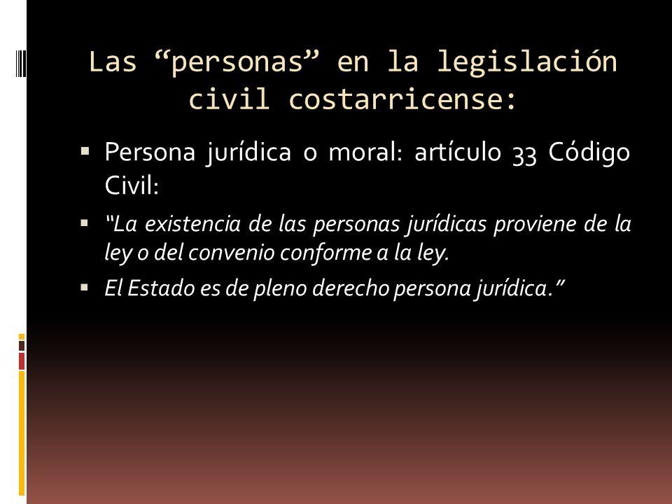 Las personas en la legislación civil costarricense: Persona jurídica o moral: artículo 33 Código Civil: La existencia de las personas jurídicas provie