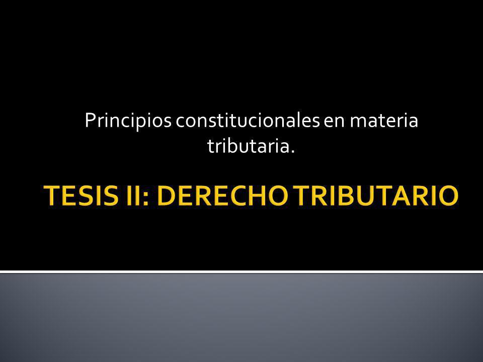 Principios constitucionales en materia tributaria.